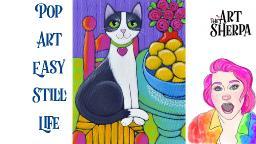 East Cat with Lemons Pop art style Still life Acrylic tutorial live stream   TheArtSherpa