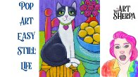 East Cat with Lemons Pop art style Still life Acrylic tutorial live stream | TheArtSherpa