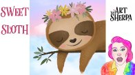 Easy how to paint a Cute Sloth step by step painting Live stream | TheArtSherpa