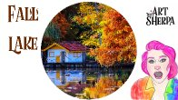 How to paint Fall tree on a lake with Cabin Live streaming tutorial   TheArtSherpa