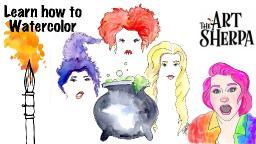 FREE Hocus Pocus Sisterhood Watercolor Painting step by step