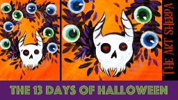 Spooky Wreath 13 days of Halloween live stream painting Step by step Day 4