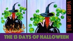 Witchy Cauldron Bath 13 days of Halloween live stream painting Step by step Day 11 | TheArtSherpa