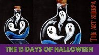 Ghost in a Bottle 13 days of Halloween live stream painting Step by step Day 12   TheArtSherpa