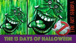Easy Drippy Acrylic Slimer Halloween Spooky live stream painting Step by step Day 6 | TheArtSherpa