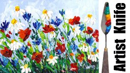 Abstract Wildflowers with Palette knife for beginners Live stream tutorial | TheArtSherpa