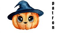 Holiday Watercolor Pumpkin Witchy Poo Patron   TheArtSherpa