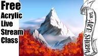 Live stream EASY Fall mountain Acrylic Tutorial | TheArtSherpa