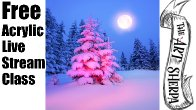 Live streaming Easy Acrylic Painting Snowy Pine trees | TheArtSherpa