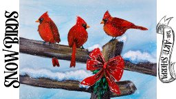 Cardinals on Fence in winter Red Bow Acrylic  painting step by step EASEL