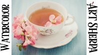 TEACUP AND FLOWERS Easy How to Paint Watercolor Step by step | The Art Sherpa