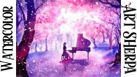 Girl Piano Magic  Forest Easy How to Paint Watercolor Step by step | The Art Sherpa