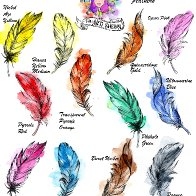Watercolor Feather Swatching page