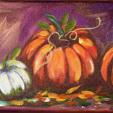 The Art Sherpa painting Fall Pumpkins on 5 x 7 (free gift with purchase)