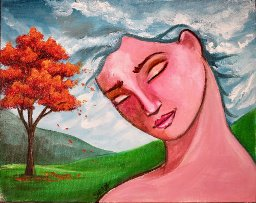 The Art Sherpa painting Fall Fantasy Face, 8 x 10 (free gift with purchase)