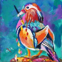 #12 Bird Hop 8x8 Print: Marty Mandarin Duck, by Ginger Cook