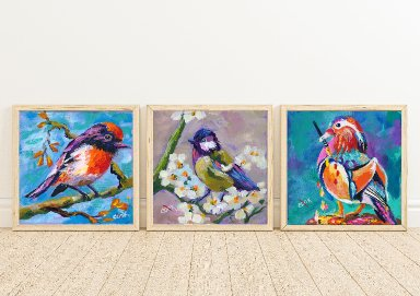 Three Bird Prints From Ginger Cook