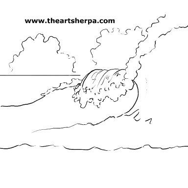 Watercolor foamy Wave march 2021 traceable