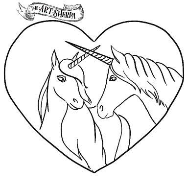 2 Unicorn Watercolor traceable