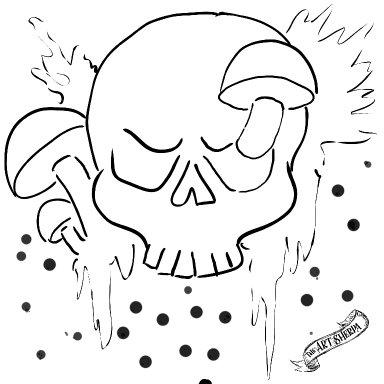 8x8 Mushrooms and Skull