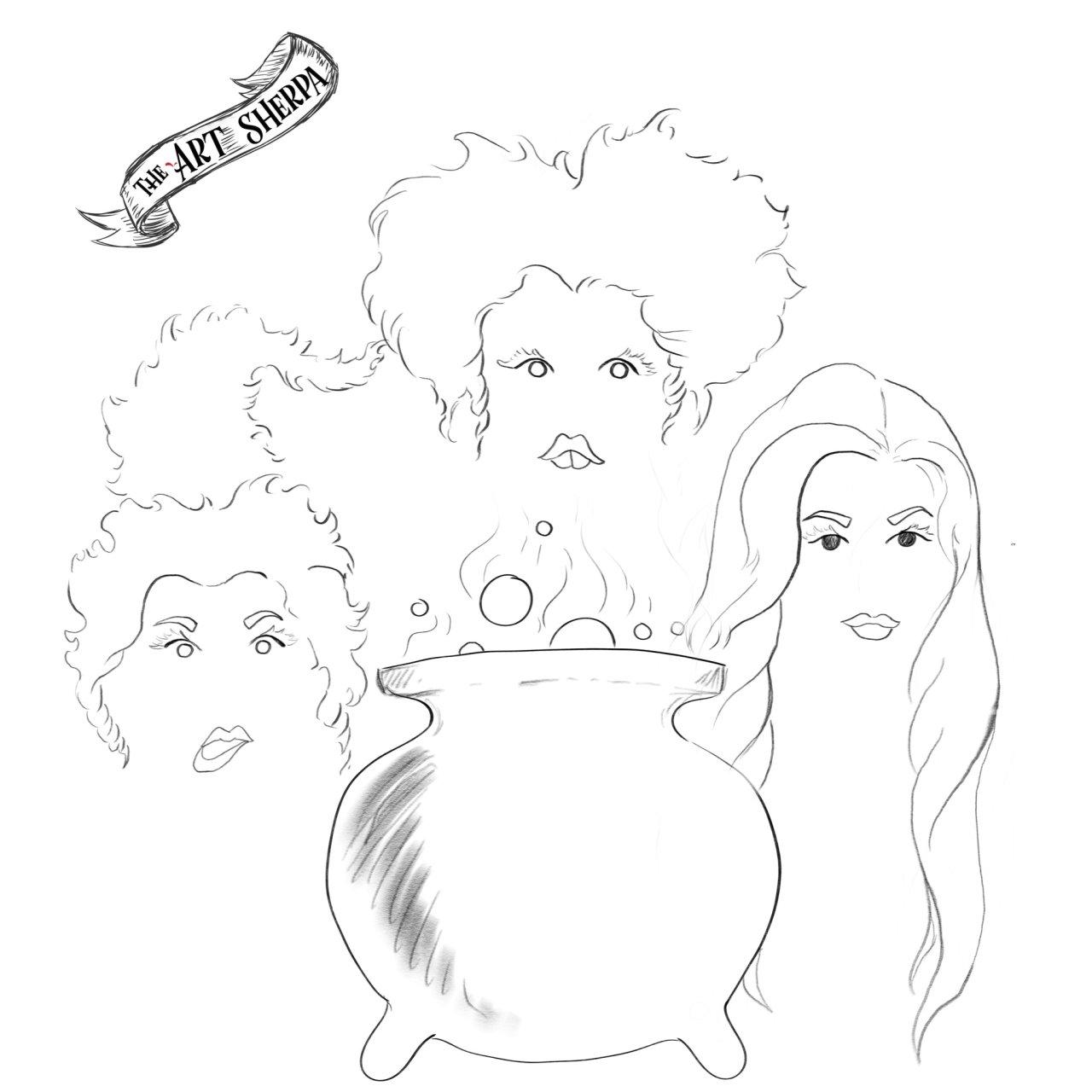 The Sisters Hocus Pocus watercolor traceable