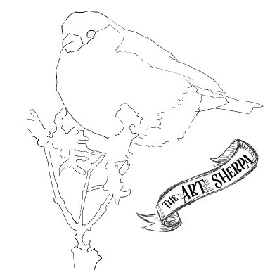 Watercolor Funny Fall Bird on Twig