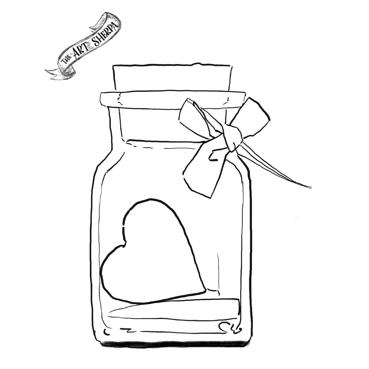 Heart in a bottle Watercolor traceable Jan 21