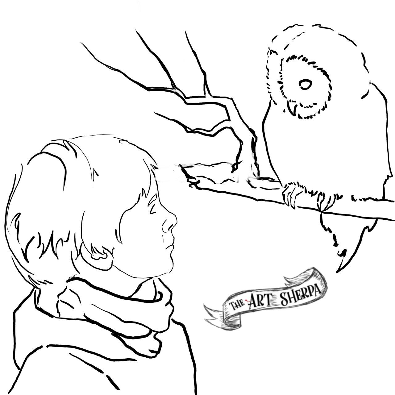 Boy winter owl Narnia Traceable