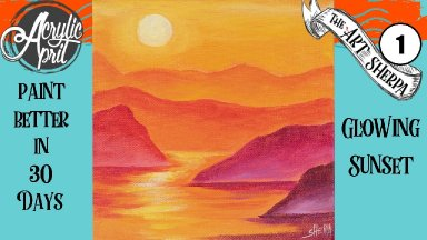 Easy Sunset Daily Painting  Step by step Acrylic Tutorials Day 1  #AcrylicApril2020