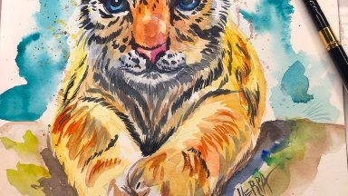 How to paint a baby tiger watercolor facebook class