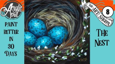Robins Egg Nest Easy Daily Painting  Step by step Acrylic Tutorials Day8  #AcrylicApril2020