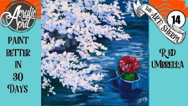 Cherry Blossom boat  Easy Daily Painting  Step by step Acrylic Tutorials Day  14 #AcrylicApril2020