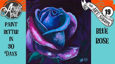 A blue Rose Easy Daily Painting  Step by step Acrylic Tutorials Day 19   #AcrylicApril2020
