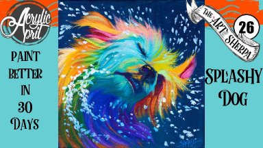 Colorful dog Easy Daily Painting  Step by step Acrylic Tutorials Day 26  #AcrylicApril2020