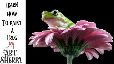 Frog on a Daisy Step by step Acrylic Tutorial Live Stream The Art Sherpa