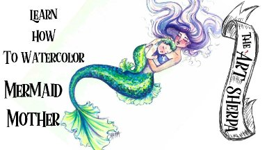 Watercolor How to paint a Mermaid Mother and Baby live stream step by step