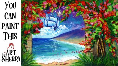 Neverland Fantasy Landscape  Painting  Step by step Acrylic Tutorials The Art Sherpa