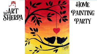 Easy Love Birds on a Branch Sunset Acrylic Painting Tutorial | TheArtSherpa