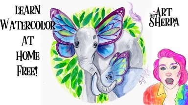 Watercolor Flutterphant Mom and Baby