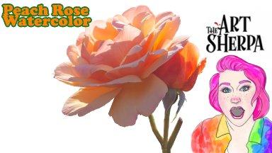 Watercolor Peach Rose