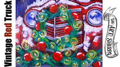 Old Red Truck Christmas Wreath Acrylic Painting Tutorial Live Stream| TheArtSherpa