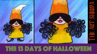 Easy Girl Gnome Candy Corn 13 days of Halloween painting Step by step Day 7 Theartsherpa