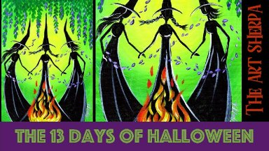 How to paint witches 13 days of Halloween live stream painting Step by step Day 3 | TheArtSherpa