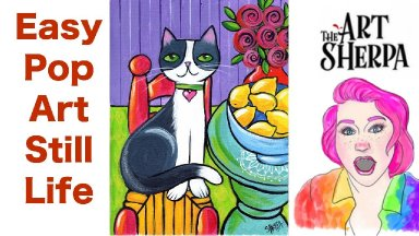 Easy Cat with Lemons Pop art style Still life Acrylic tutorial  live stream  | TheArtSherpa