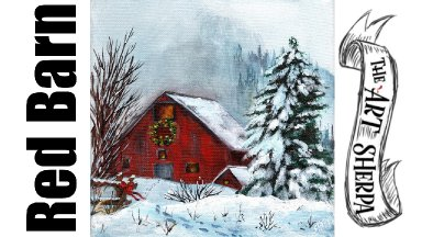 Red Winter Barn landscape  acrylic painting tutorial step by step | TheArtSherpa