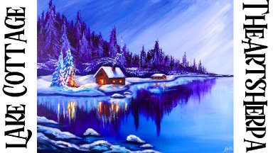 Winter Landscape with glowing lake Reflections Acrylic painting Tutorial | TheArtSherpa