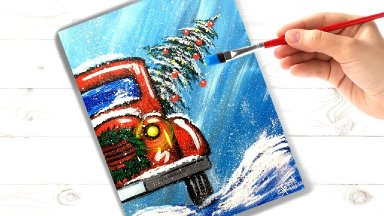 How to paint a Vintage Red Truck in Snow Easy Acrylic painting tutorial step by step | TheArtSherpa