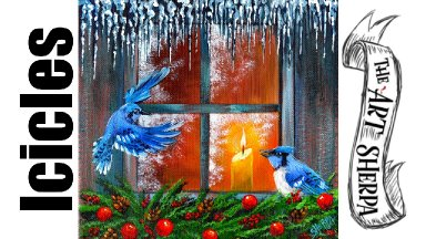 Icicles Blue Jays at Winter Window Acrylic Painting Tutorial | TheArtSherpa