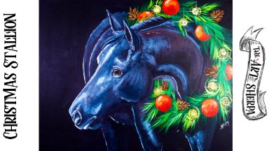 Black Christmas Stallion Acrylic Tutorial step by step Beginners  | TheArtSherpa