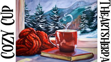 How to Paint Book Red coffee Cup Snowscape Window Fantasy | acrylic tutorial | TheArtSherpa